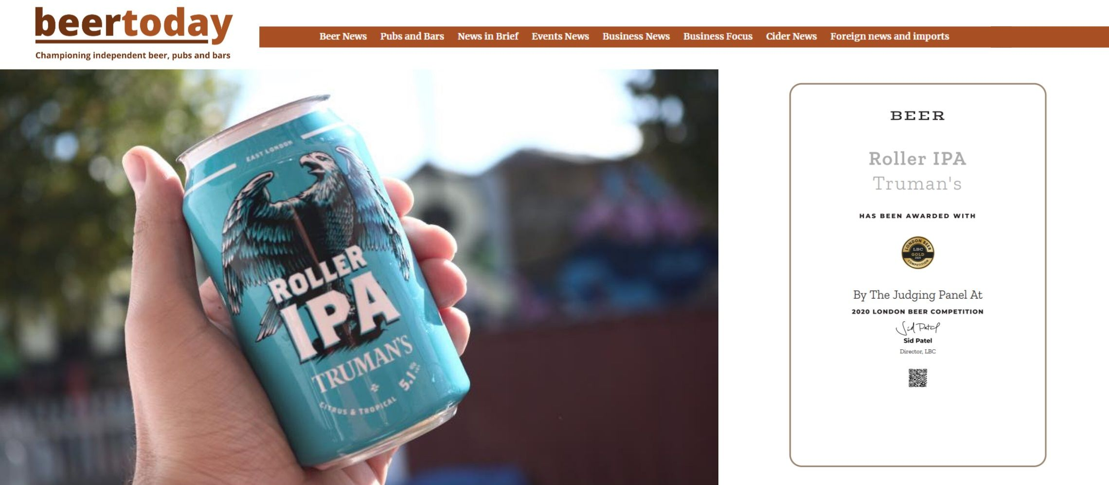 Photo for: Truman's Roller IPA Wins London Beer Competition