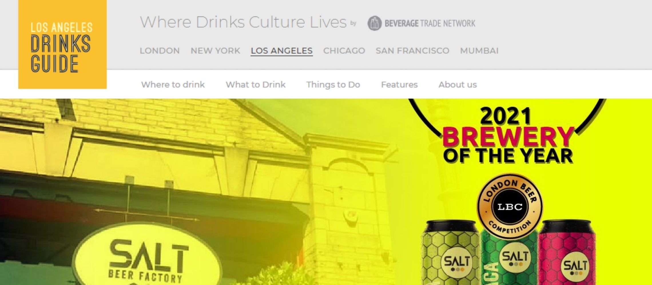 Photo for: Salt Beer Factory Wins Brewery of the Year - Via Los Angeles Drinks Guide